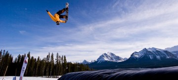 Colin Janssen testing the snowboard air bag. Photo by Russell Brown.